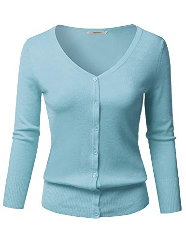 - Solid Button Down V-Neck 3/4 Sleeves Knit Cardigan Sky Blue S