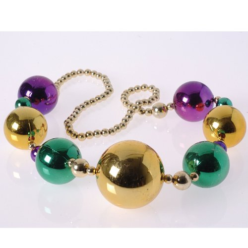 Mardi Gras Extra Large Beaded Necklace Party Supplies (Green/Purple/Yellow)