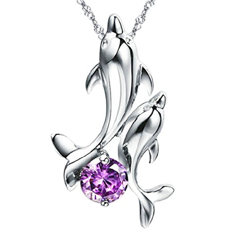 Pearl of Dream Dancing Dolphins Purple Sterling Silver Pendant Necklace