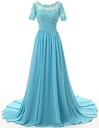 DINGZAN Short Sleeves Chiffon Wedding Guest Dress Bridesmaid Gowns ...