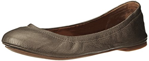 Lucky Brand Women's Emmie Ballet Flat, Pewter, 7.5 M US (Footwear Leather Pewter)