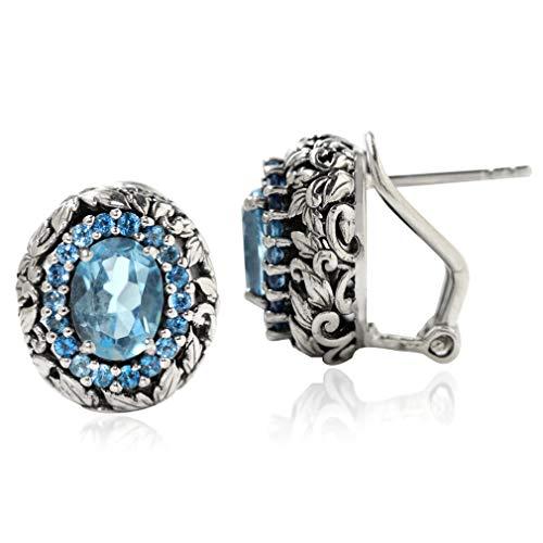 (3.06ct. Genuine London Blue Topaz 925 Sterling Silver Leaf Vintage Style Omega Clip Earrings)