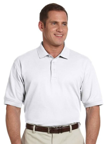 Devon & Jones Men's Pima Pique Polo Shirt , WHITE, X-Large - Mens Pima Pique Polo