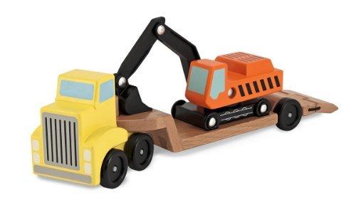 Wooden Trailer & Excavator + FREE Melissa & Doug Scratch Art Mini-Pad Bundle [45773]