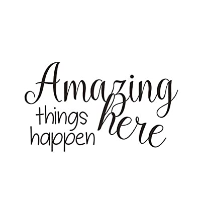 BIBITIME Wall Decal Quotes Amazing Things Happen Here Sayings Vinyl Sticker for Office Baby Infants Toddlers Nursery Bedroom Children Kids Room Decor Home Art PVC Murals (Black, DIY 13.4
