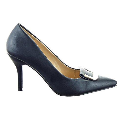 Sopily - Zapatos Escote Zapatos De Moda Decollete Estilete Escote En Tobillo Mujer Metal Stiletto Tacón Alto Stiletto 8.5 Cm - Negro