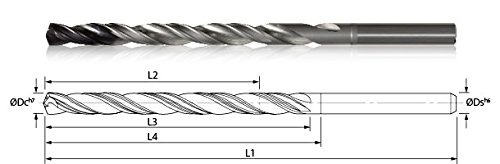 (KYOCERA 865-3189AG4146 High Performance Extra Length Drill, 10xD, 135 Degree Cutting Angle, 105.3 mm Cutting Length, 10 mm Shank Diameter, 160 mm Length, Carbide, AlTiN Nano)