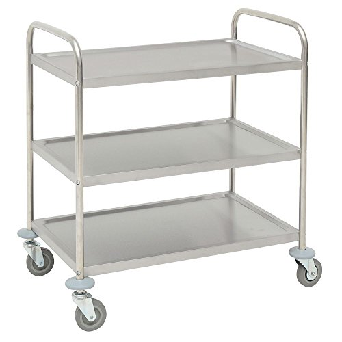 HUBERT Utility Cart with 3 Shelves Stainless Steel - 33 9/10
