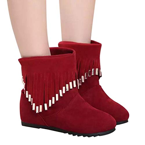 Boots Red Martin Women FALAIDUO Shoes Flat Boots Tassel Low Casual Ankle On Slip Boots XxOqwC