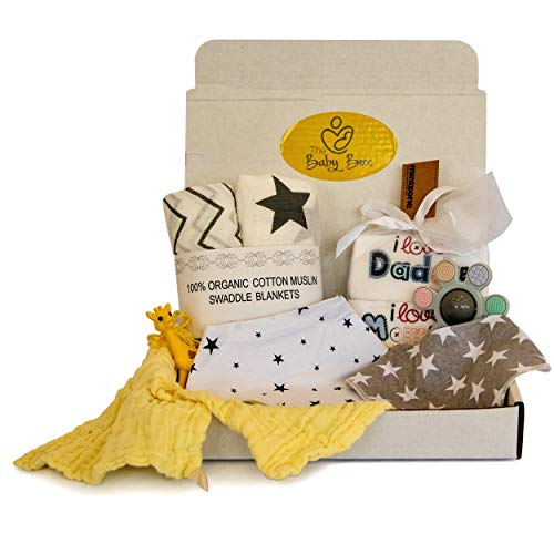 (New Baby Essentials Kit Gift Box Moms 10 Little Set Products 2 Baby Bath Towel 2 Swaddle Blanket 2 Baby Bibs 2 Baby Onesies and 2 Teething Toys Baby Stuff New Mom Gifts 100% Cotton)
