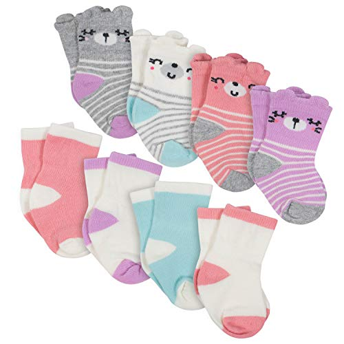 Gerber Baby 8-Pair Wiggle Proof Sock, Animal Face Girl, 6-12 Months