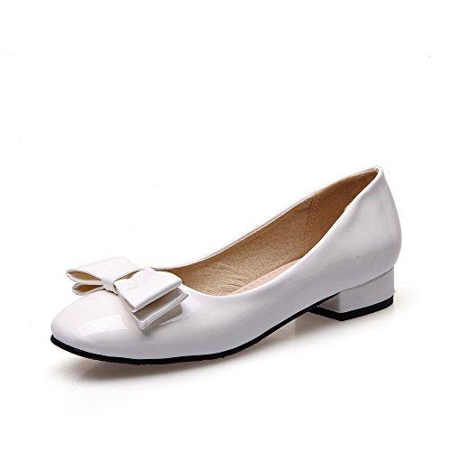 VogueZone009 Damen Ziehen auf Lackleder Quadratisch Zehe Rein Pumps Schuhe Weiß