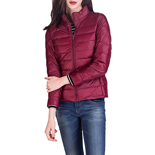 Jacket Water Short Red Ultra Light Wine with Down Weight Collar Zhhlinyuan Stand Packable Coat Breathable Women's Resistant Down zxqw0TgEf