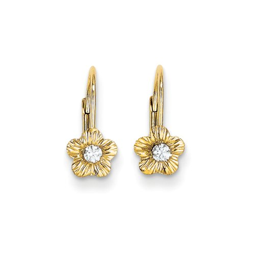 5mm Flower with Cubic Zirconia Lever Back Earrings in 14k Yellow Gold by The Black Bow