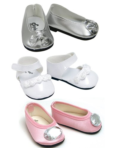 18 Inch Doll Shoe Set. Dress up Shoes for 18 Inch Dolls in Light Pink, Silver & White 18 Doll Shoes