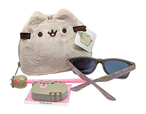 CultureFly Pusheen Plush Cat Face Bag and Accessories Bundle of 4 Items - Bag, Pen, Sunglasses, Sticky Notes (Donut) (Pusheen Sunglasses)