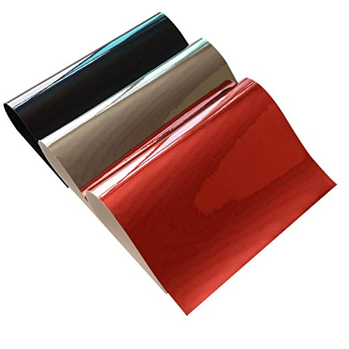 Mirror Faux Leather Fabric Sheet- 3 Pieces Red Black Gray 8 x 12 Glossy Faux PU Leather Fabric Sheets for Hair Bow Making, Headband Making, Hair Clip Making, Hair Crafts,Shoe Making