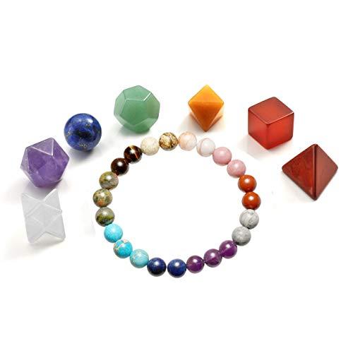 Jovivi 7 Chakra Crystal Platonic Solids Sacred Geometry Set w/Merkaba Star and 7 Chakra Grounding Bracelet Set for Meditation Reiki Healing ()