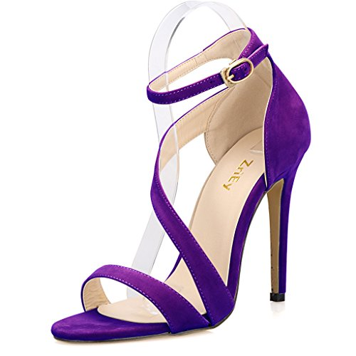 Viola Toe Con 2 Taglia Peep 5 Uk Thin Ladies Alto Sandali In Polsini Alla Caviglia Tacco Strappy Cinturino E Velluto CqR17xZ
