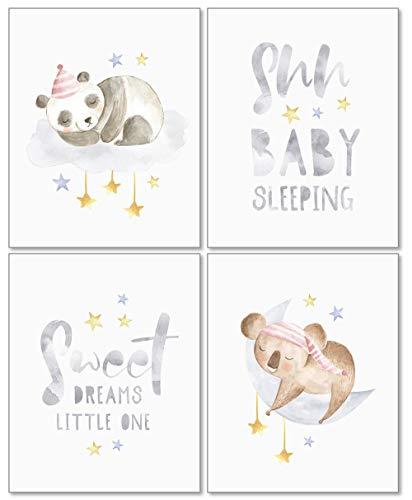 Confetti Fox Sweet Dreams Animals Nursery Wall Art Decor – 8×10 Unframed Set of 4 Prints – Gender Neutral Boy Girl Sleeping Baby Quotes – Stars Moon Panda Koala
