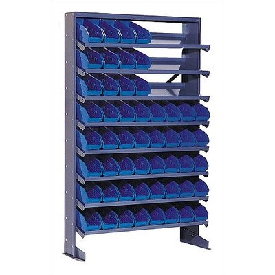 Single Sided Pick Rack Storage Systems Bin Dimensions: 4'' H x 4 1/8'' W x 11 5/8'' D (qty. 64), Bin Color: Blue by Quantum Storage Systems