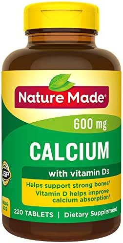 Nature Made Calcium 600 mg Tablets with Vitamin D, 220 Count Value Size (Packaging May Vary)