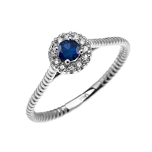 10k White Gold Dainty Halo Dia