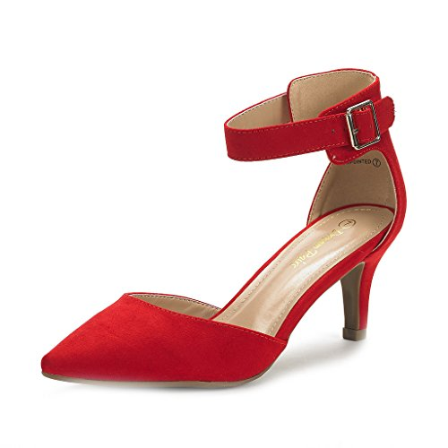 (DREAM PAIRS Women's Lowpointed Red Suede Low Heel Dress Pump Shoes - 6 M)