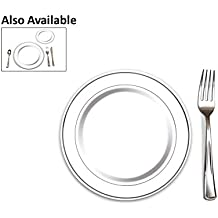 """100 Heavyweight Elegant Plastic Disposable 7.5"""" Small Plates & 100 Silver Plastic Forks, Perfect for Salads, Desserts, Tapas, Appetizers, Hors d' oeuvres, Parties, Catering, Wedding Cakes"""