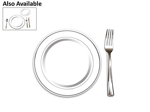 "100 Heavyweight Elegant Plastic Disposable 7.5"" Small Plates & 100 Silver Plastic Forks, Perfect for Salads, Desserts, Tapas, Appetizers, Hors d' oeuvres, Parties, Catering, Wedding Cakes Disposable Catering Supplies"