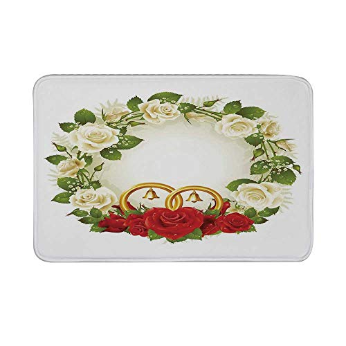 (Wedding Decorations Non Slip Door Mat,Frame with White and Red Roses and Stylized Wedding Rings Romance Floor Mat for Bathroom Living Room,23