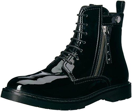 A|X Armani Exchange Women's Patent Combat Boot, Nero, 9 M US
