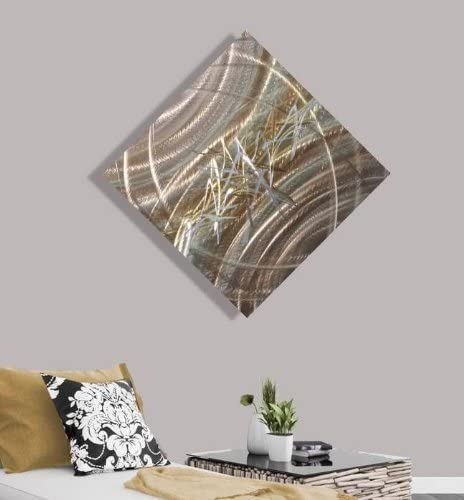 Statements2000 Elegant Etched Silver with Fusions of Gold Contemporary Abstract Hand-Made Metal Wall Art – Home Accent, Modern Home Decor – Pulsate by Jon Allen