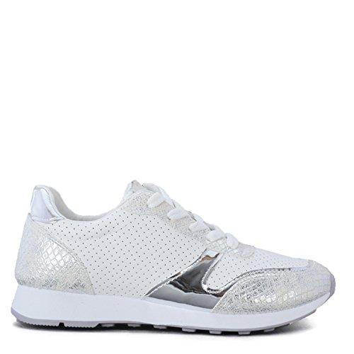 Altamoda Zapatillas Sneakers de Mujer Blancas y Cromo con Picado