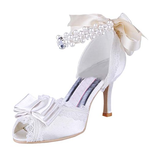 Kevin Fashion Ladies Peep Toe Stiletto talón para novia boda satén zapatos sandalias blanco