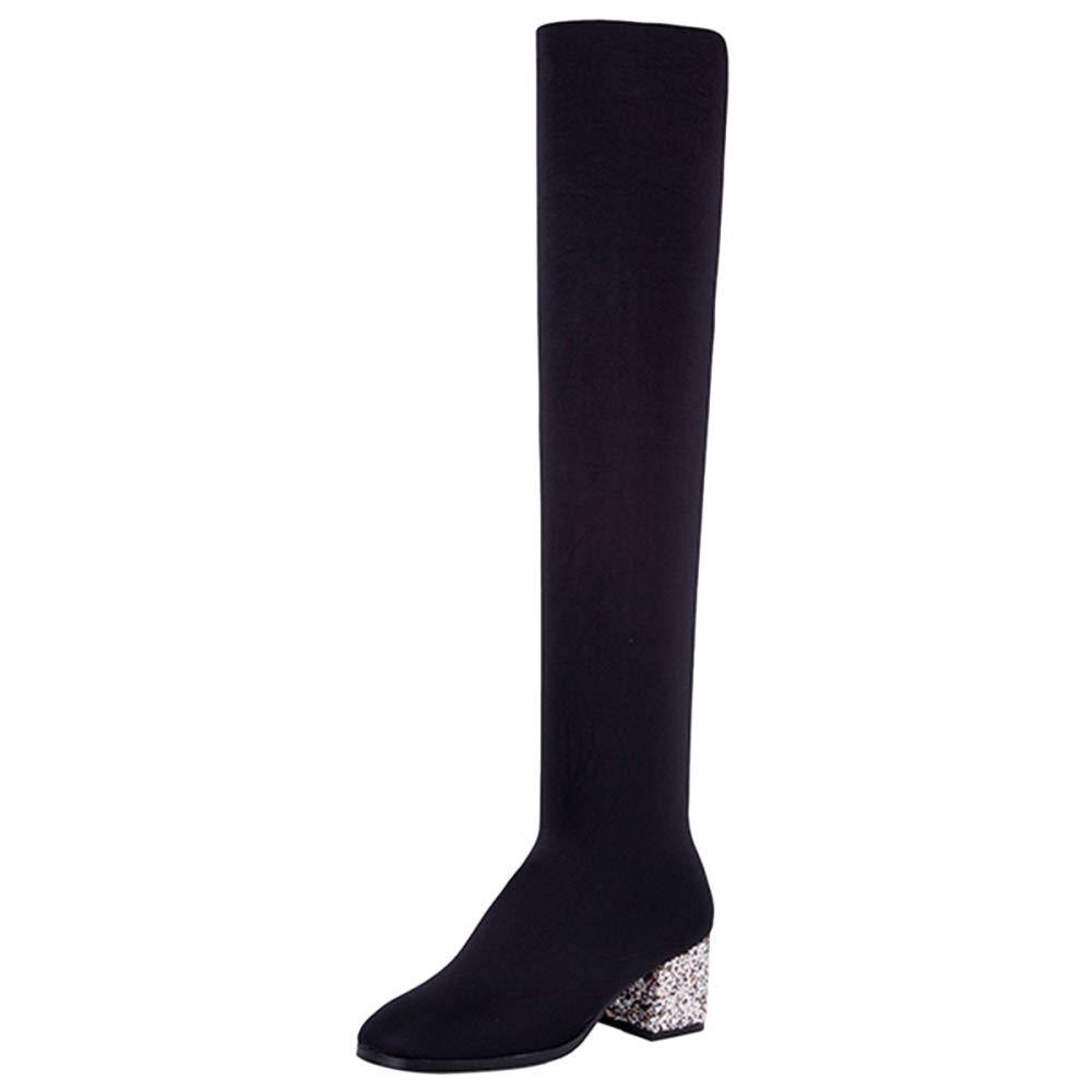 QQWE Damenstiefel Damen Oberschenkel Hoch über Dem Knie Spitze Zehe Chunky Elastische Strümpfe Stiefel Mode Damen Schuhe
