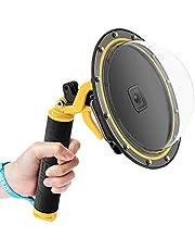 TELESIN Dome Poort voor GoPro Hero 9, Onderwater Dome Port Cover Case Camera Lens Protector met Drijvende Bobber Handvat + Trigger voor GoPro Hero 9 Zwart