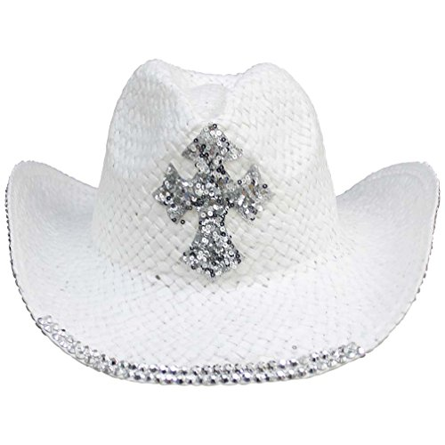 Luxury Divas White Straw Cowboy Hat With Sequin Cross