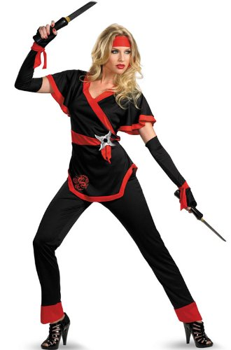 [Disguise Women's Ninja Dragon Costume, Black/Red, Large] (Official Halloween Costumes)