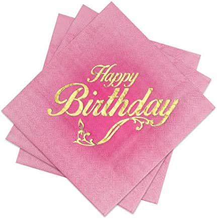 Birthday Party Cocktail Napkins - 3 Colors: Pink Ombre, Blue Ombre or Ivory - 3 Ply - Size 5 x 5 Inches (72 Pack) - with Happy Birthday Gold Foil Stamp