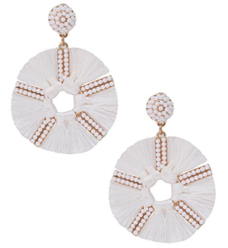 HSWE Round Beaded Tassel Earrings for Women Statement Drop Earrings Handmade Beads Dangle Earrings (White) ()