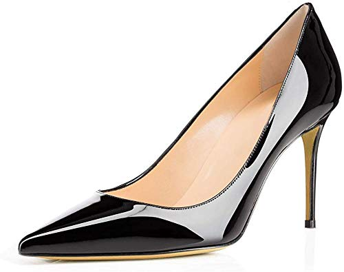 Ayercony Pumps for Woman, Kitten Heel Pumps Slip on high Heel Pointed Toe Shoes for Dress Office