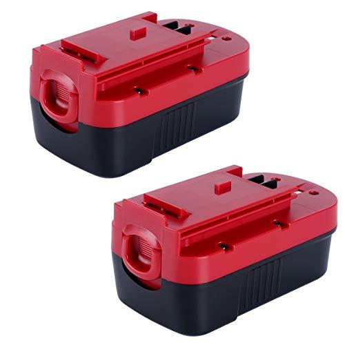 Lasica 2-Pack BLACK+DECKER 18 Volt NiCd Battery HPB18-OPE2 Replacement for All Black+Decker 18V Outdoor Power Tool Battery HPB18 HPB18-OPE 244760-00 A1718 Firestorm FS180BX FS18BX FS18FL FSB18 NST2118