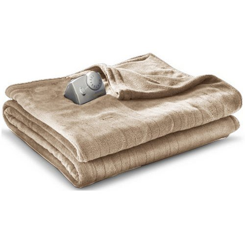 Biddeford 13201 Micro Plush electric heated twin-size blanket, linen. (Biddeford Blankets Cord)