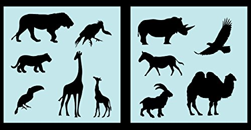 Auto Vynamics - STENCIL-ANIMALS-AFRICASET01-10 - Detailed Animals of Africa Stencil Set - Features Everything From Lions to Vultures! - 10-by-10-inch Sheets - (2) Piece Kit - Pair of Sheets (Stencils Safari Animal)