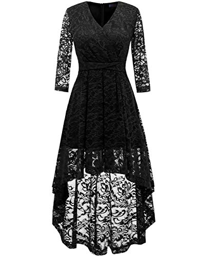 DRESSTELLS Women's Vintage Floral Lace Bridesmaid Dress 3/4 Sleeve Wedding Party Cocktail Dress Black XL