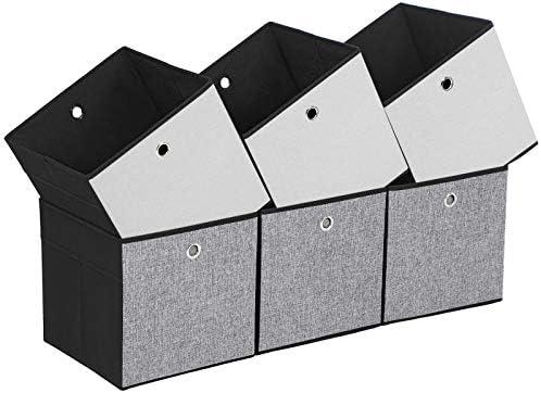 SONGMICS Juego de 6 Cajas Plegables, Cubos, Cestas y Contenedores de Tela para Guardar Ropa, Organizador de Juguetes, 30 x 30 x 30 cm ROB30WB: Amazon.es: Hogar