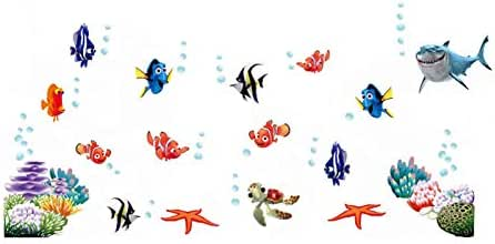 Cartoon 3D effect DIY Underwater Fish Bubble Bathroom Wall Stickers For Kids Room Wall Decals Home Decor