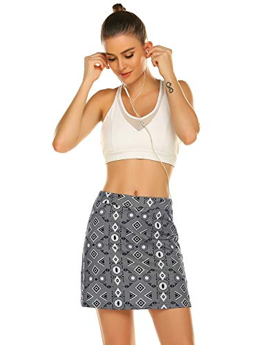 Ekouaer Women's Skorts Pleated Cute Skirts with Pocket Solid Color Sports Shorts