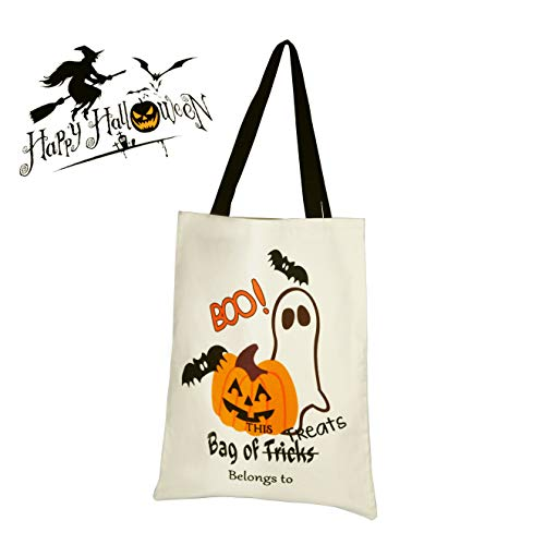 Personalized Halloween Trick or Treat Bucket Tote Bag Candy Gift Sack Bag Halloween Day 13.2x17.3 inches -